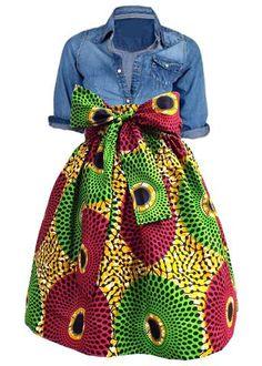 Chioma African Print High Waist Full Skirt (Gold/Pink/Green)