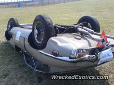 Gave it too much throttle coming out of a bend and spun it. Went into the grass, dug in and flipped over. Driver walked away. Jaguar Sport, Jaguar Type, Jaguar Xk, Jaguar Cars, British Sports Cars, E Type, Car Crash, Grass