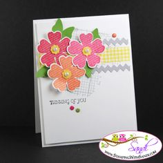 STAMPIN' UP! Supplies Used: Flower Shop Stamp Set,Gifts of Kindness stamp set, Off the Grid Stamp Whisper White Card stock, Smoky Slate Card stock, Gumball Green Ink:  Smoky Slate,  Real Red , Strawberry Slush , Crisp Cantaloupe, Big Shot , Tasteful Trim Bigz Die, Pansy Punch , Elegant Butterfly punch (leaves), Itty Bitty Shapes Punches, Brights Candy Dots, Basic Pearls