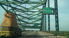 Welcome to Maine- two of Maine's icons, the humpback bridge in Kittery entering Maine, and the L.L. Bean Mobile Boot!