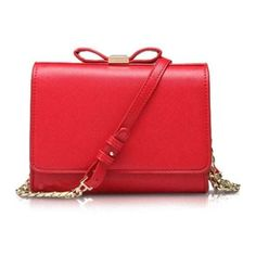 Bowknot Solid Color Crossbody Bag Red (97 PEN) ❤ liked on Polyvore featuring bags, handbags, shoulder bags, red cross body purse, cross body, red shoulder bag, red cross body handbags and crossbody handbag
