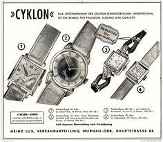 Original-Werbung/ Anzeige 1951 - CYCLON UHREN / HEINZ LUX - MURNAU - ca. 140 x  120 mm