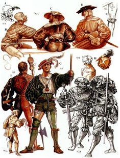 Details of Landsknecht clothing and hats