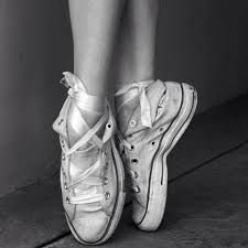 my first pair of pointe shoes were my converse.. the memories