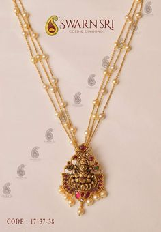 Pearls chain with gold Antique finish goddess Lakshmi Devi Pendant Pearl Necklace Designs, Gold Earrings Designs, Gold Jewellery Design, Silver Jewellery, Black Diamond Jewelry, Gold Necklace, Gold Jewelry Simple, Layered Jewelry, Pandora
