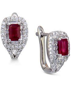 Ruby (3/4 ct. t.w.) and Diamond (1/2 ct. t.w.) Stud Earrings in 14k White Gold | macys.com