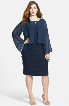 Adrianna Papell 'Poncho' Banded Dress (Plus Size)