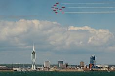 Events in Normandy and Portsmouth commemorate the anniversary of D-Day. Portsmouth England, Hampshire Uk, D Day Landings, 70th Anniversary, Red Arrow, Local Attractions, Isle Of Wight, Arrows, San Francisco Skyline