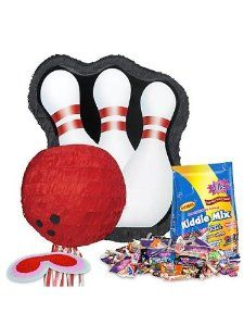 Bowling Pin Pinata Kit by COSTUME SUPERCENTER. $21.83. Score a strike with this Bowling Pin Pinata Kit which features a bright red bowling ball hitting a trio of white and red striped pins against a black background! The kit gives you everything you need to have a fantastic, fun pinata at any bowling themed party, birthday or otherwise, and includes the ribbon pull pinata, the deluxe blindfold to keep the kids in the dark, and the huge three pound bag of Kiddie Mix!...