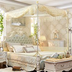 XH H&C Summer and autumn bedroom luxury bed-type stainless steel bracket flat top zipper Court nets Grey Bedding, Luxury Bedding, Mansion Bedroom, Types Of Beds, Victorian Decor, Bed Duvet Covers, Luxurious Bedrooms, Modern House Design, Decoration