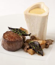 This richly satisfying beef with bone marrow recipe combines the intense flavours of beef, oyster and mushroom flavours. - Pascal Aussignac