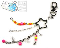Great Neon DIY key fob! Available as kit: http://www.beadyourfashion.com/assortment/diy-jewelry-kits/jewelry-categories/key-fobs/doublebeads-jewelry-kit-starpower-key-fob-23cm-with-swarovski-elements-pearls-beads-and-various-other-materials-such-as-metal-accessories-db0217