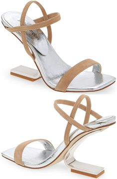 An architectural heel brings striking height to a strappy sandal designed with elasticized straps at the ankle. Embellished Sandals, Studded Sandals, Ankle Strap Sandals, Open Toe Booties, Lace Up Booties, Balmain Boots, Hiking Fashion, Shoes World, Designer Sandals