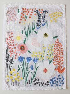 Grey Floral Dishtowel by lisaruppdesign on Etsy, $18.00