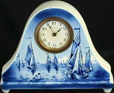 Vintage Dutch Blue Delft Mantle Mantel Clock Sailboats