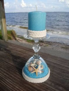 🏖🏖An upcycled mini glass turned candle holder. Candle included and removable💛🦀 Seashell Candles, Diy Candles, Seashells, Seashell Projects, Seashell Crafts, Wine Glass Crafts, Wine Bottle Crafts, Sea Crafts, Crafts To Make