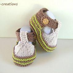 Chaussons,sandales bebe, 100% coton,tricot fait main, 0/3 mois