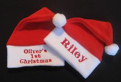 43f04533f65f0 Personalised Cute Any Name Baby Christmas Santa Hat Gift My 1st Xmas Baby Santa  Hat