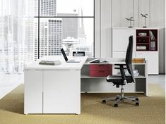 Contemporary style L-shaped executive desk with shelves DELTA EVO | L-shaped office desk