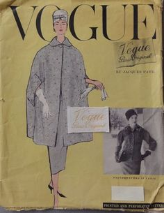 Vintage Vogue Paris Original, Jacques Fath, Complete w/Label, 1956-57, Size 14 #VoguePatterns #HauteCoutureCouturierOriginalModelDesigner