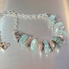 Aquamarine Necklace, Statement Necklace, Aquamarine Large Disks and Large Chunky Sterling Silver Beads