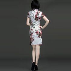 Snow Plum Flowers Cotton Classic Chinese Gowns White - $119 - SKU: 127237 - Buy Now: http://elegente.com/nzx.html #ChineseladyQipao #Qipao #Cheongsam