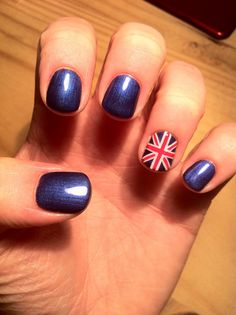 CND Shellac Nail Art and Layering - layer of Blackpool and Purple Purple with handpainted Union Jack nail art in Cream Puff and Wildfire.