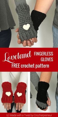 Make this Loveland Fingerless Gloves, easy to make hand and wrist warmers with o. Make this Loveland Fingerless Gloves, easy to make hand and wrist warmers with our FREE Crochet Pat Crochet Fingerless Gloves Free Pattern, Crochet Mitts, Crochet Wrist Warmers, Hat Crochet, Bunny Crochet, Crochet Bebe, Free Crochet, Crochet Video, Easy Crochet Patterns