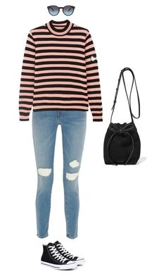 """Untitled #656"" by amyjonez on Polyvore featuring Frame Denim, Shrimps, Converse, Mansur Gavriel and Burberry"