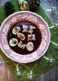 Barszcz czerwony (refreshing beetroot soup with vegetables and sour cream or served clear with dumplings.)
