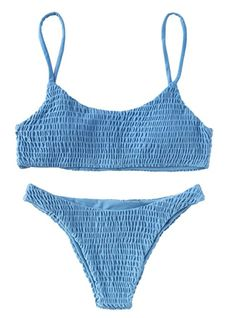 Solyhux Two Piece Solid Color Shirred Bikini Set Swimsuit - Bikinis Bathing Suits For Teens, Summer Bathing Suits, Cute Bathing Suits, Summer Suits, Baby Bathing, One Piece Swimsuit Flattering, One Piece Swimsuit For Teens, Bikini Modells, Sexy Bikini