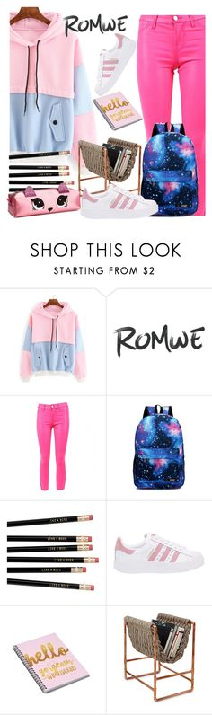 """""""Romwe-Color Block Drawstring Hooded Sweatshirt"""" by nejra-l ❤ liked on Polyvore featuring J Brand and adidas Originals"""