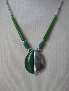 Vintage Art Deco Jakob Bengel Green Galalith Machine Age Necklace