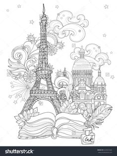 Zen Art Stylized Eiffel Tower Hand Drawn Vector Illustration From Story Magic.Sketch For Poster, Children Or Adult Coloring Pages. France Collection.Boho Style - 423501664 : Shutterstock