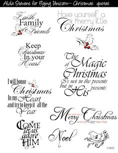 Flying Unicorn: Digital Designs Formated Holiday words for die-cutting