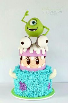 I dont know if I want to put my hands or face in that Sully section- Cake Wrecks - Home - Sunday Sweets: Pixar Pretties! Monster Inc Party, Monster Inc Cakes, Monster Inc Birthday, Fondant Cakes, Cupcake Cakes, Sweets Cake, Cake Wrecks, Monsters Inc, Party Monsters