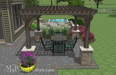 Relaxing Outdoor Living Design with Pergola and Hot Tub | Download Plan – MyPatioDesign.com