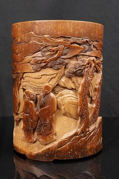 Measurements: Height 14cm (5.5IN) Diameter: 10.5cm (4.2IN); Qing dynasty brush pot with raised carving. Extremely nice carving of landscape