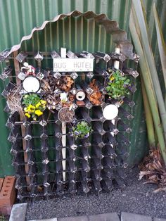 Love the idea of using an old wine rack for this, although ours would be smaller Garden Crafts, Garden Art, Forest School Activities, Greenery Decor, Outdoor Fun For Kids, Bug Hotel, House In Nature, Outdoor Classroom, Outdoor Learning