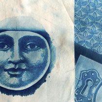 Cianotipias realizadas sobre tela de algodón/Cyanotype made on cotton
