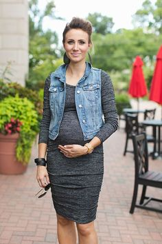 GORGEOUS Body Con Dress and Denim Vest Maternity Style