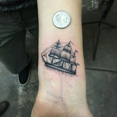 Ship Tattoo on Wrist by Marion M Toney