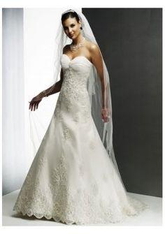 Sottili innamorato scollatura abiti da sposa senza spalline