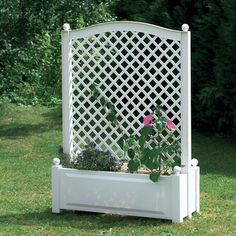Plastic Planter Box With Trellis Khw Colour White Set Size Of 1