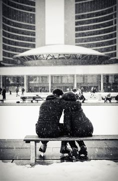 Lovers in Snow    Nathan Phillips Square Ice Skating rink, by Toronto's City Hall