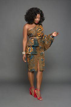 Undersstated elegant Ankara off shoulder dress