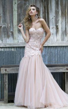 Lace Tulle Prom Dress 2015 Blush Nude Sherri Hill 11155