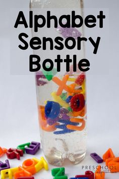 Make a beautiful alphabet sensory bottle! Three simple ingredients are all you need for hours of sensory and literacy fun.