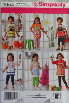 Simplicity 1954 Child's Costume Aprons in Three Sizes