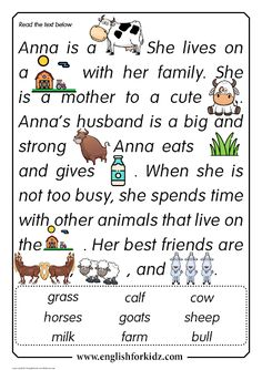Reading Comprehension Worksheets: Anna the Cow. First, second or third grades. English Stories For Kids, English Worksheets For Kids, English Lessons For Kids, Learn English Words, Grade 1 Reading Worksheets, First Grade Reading Comprehension, Phonics Reading, Comprehension Strategies, Reading Response